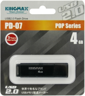Флешка (Flash-drive) USB 2.0, 4Гб, Kingmax U-Drive PD07, 20/10 Мб/с, пластик, черная фото
