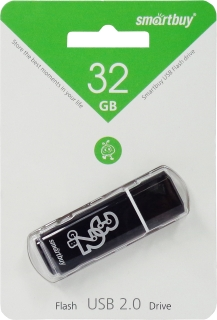 Флешка (Flash-drive) USB 2.0, 32Гб, SmartBuy Glossy, 10/5Мб/с, пластик, черная фото