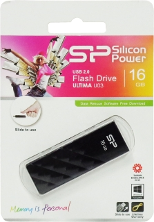 Флешка (Flash-drive) USB 2.0, 16Гб, Silicon Power UFD ULTIMA U03, 12/10Мб/с, пластик, черная фото