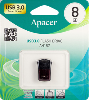 Флешка (Flash-drive) USB 3.0, 8Гб, Apacer AH157, 70/20Мб/с, пластик, красная фото