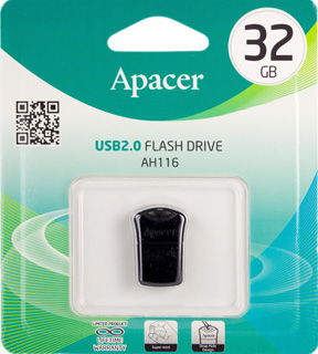 Флешка (Flash-drive) USB 2.0, 32Гб, Apacer AH116, 15/5Мб/с, пластик, черная фото