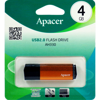 Флешка (Flash-drive) USB 2.0, 4Гб, Apacer AH330, 18/5Мб/с, металл, оранжевая фото