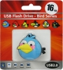 Флешка (Flash-drive) USB 2.0, 16Гб, Blue Birds, 15/8Мб/с, резина, голубая фото