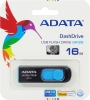 Флешка (Flash-drive) USB 3.0, 16Гб, A-Data UV128, 35/10Мб/с, пластик, черно-голубая фото